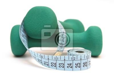 Nálepka Fitness a dieta - zelené činky a svinovací metr