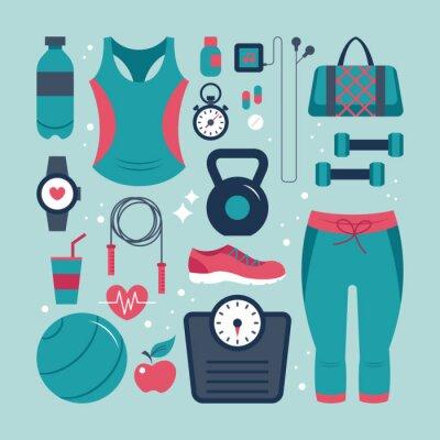 Nálepka Fitness a zdravotní ploché ikony set