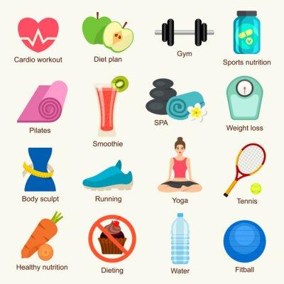 Nálepka Fitness icon set