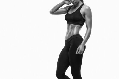 Nálepka Fitness sportovní žena ukazuje její dobře vyškolených tělo