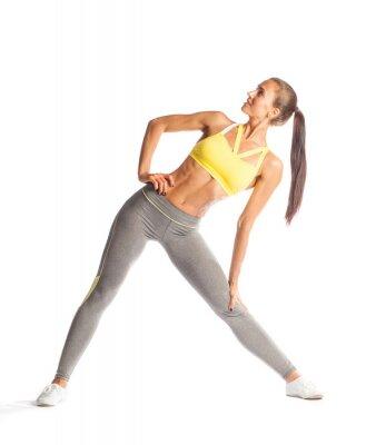 Nálepka Fitness žena dělá cvičení, usmíval se a díval se izolovaných na bílém pozadí