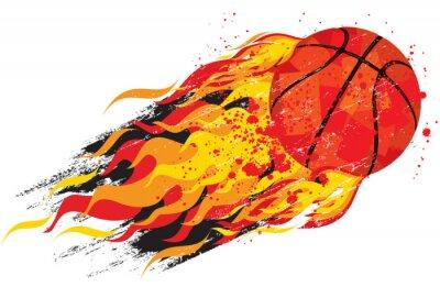 Nálepka Flaming basketball