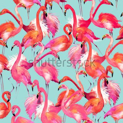 Nálepka flamingo birds seamless background. Watercolor tropical nature pattern.