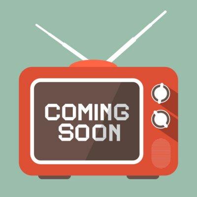 Nálepka Flat Design Coming Soon Vector Title on Retro TV Screen