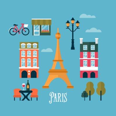Nálepka Flat stylish icons for Paris, France. Travel and tourism infogra