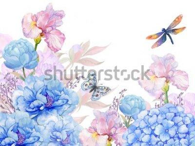 Nálepka floral background .illustration of watercolor. flowers peonies, irises, hydrangeas,butterflies and dragonflies . postcard floral pattern