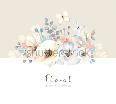 Nálepka Floral card with flowers, leaves, branches and butterfies in vintage watercolor style. Holiday template for your text, vector illustration on beige and white background.