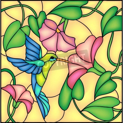 Nálepka Floral composition with tropical flowers and flying humming bird   colibri, vector illustration