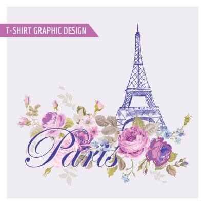 Nálepka Floral Paříž Grafický design - pro t-shirt, móda, tisky