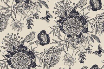 Nálepka Floral seamless pattern with garden flowers peonies, bird and butterflies.