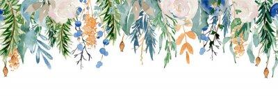 Nálepka Floral winter seamless border illustration. Christmas Decoration Print Design Template