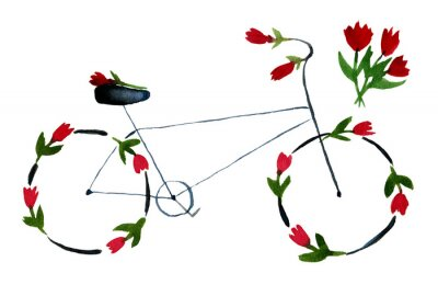 Nálepka Flower bike. Hand drawn watercolor illustration on paper. Black noir bike with red roses, poppies with green leaves. Romantic love. Isolated on white background