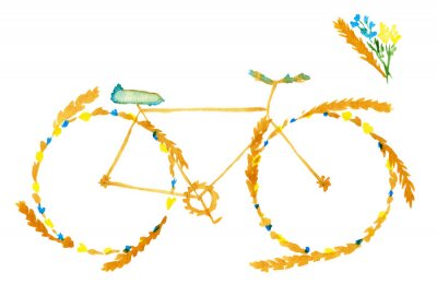 Nálepka Flower spring summer bike. Hand drawn watercolor illustration on paper.  Yellow bicycle with meadow flowers blue and ears of cereal: wheat, rye. Isolated on white background