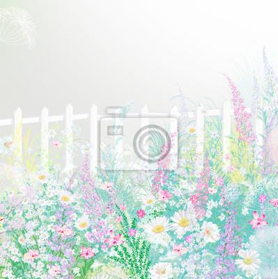 Flowers dandelion, cornflower, daisy in fields. Hand Paint summer floral Impressionist style