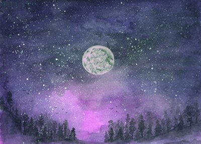 Nálepka Forest in the fog, hills. Silhouette of flying birds. Moon in starry sky. Hand-drawn, watercolor texture. Purple background.
