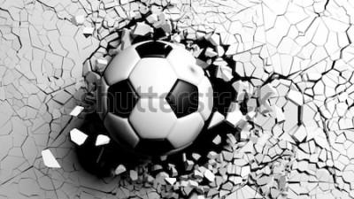 Nálepka Fotbalový míč lámání velkou silou přes bílou zeď. 3d ilustrace.