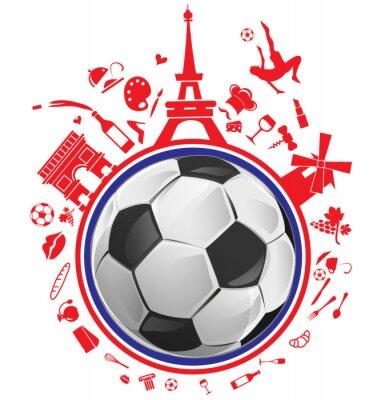 Nálepka fotbalový míč s Francií symbolem