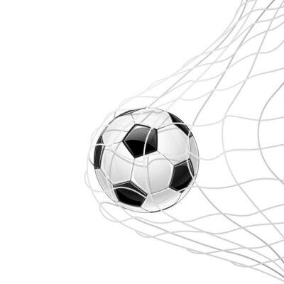 Nálepka Fotbalový míč v mřížce izolované. Vektor
