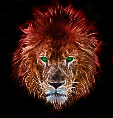 Nálepka Fractal digitálním fantasy umění lva na izolované pozadí