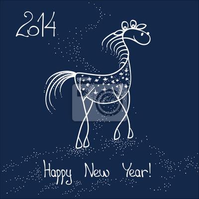 Funny doodle kůň, skica, 2014
