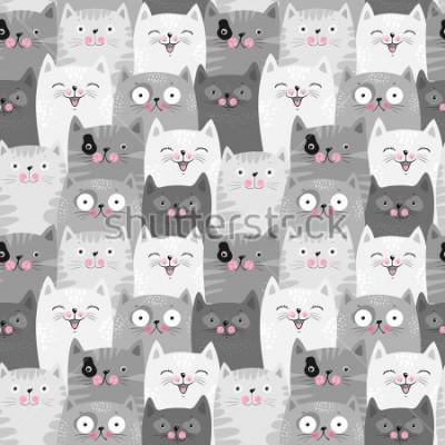 Nálepka Funny grey cats, cute seamless pattern background