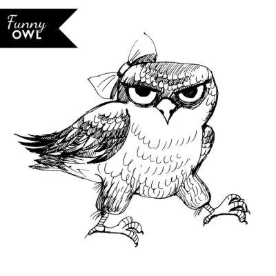 Nálepka funny sova charakter