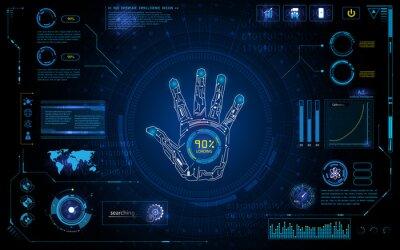 Nálepka futuristické skenování ruka se ztotožňují s HUD prvek rozhraní monitoru obrazovka design pozadí šablony