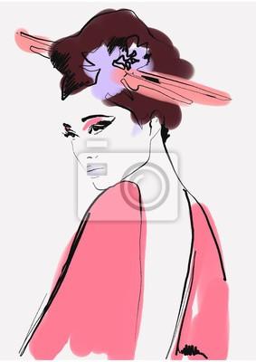 Nálepka geisha. woman in kimono. asian woman. fashion background.