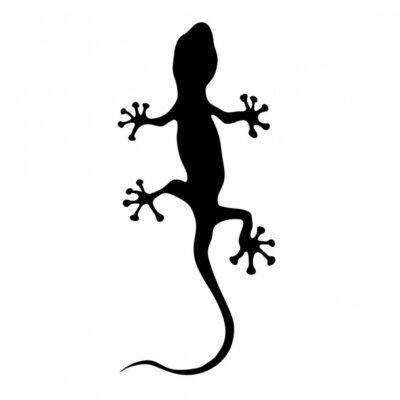 Nálepka gekon v černé silueta vektorové ilustrace