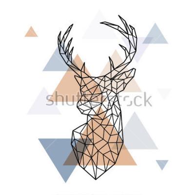 Nálepka Geometrická hlava skandinávského jelena. Víceúrovňový styl. Skandinávský styl.