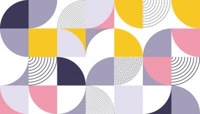 Nálepka Geometrické vzorek vektorové pozadí se skandinávskou abstraktní barvou nebo švýcarskou geometrií výtisky obdélníků, čtverců a kruhů tvaru návrhu