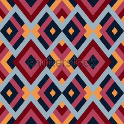 Nálepka Geometrický bezešvá vektorová vzorek s trojúhelníky a čtverce. Nekonečné abstraktní pozadí pro design v červené, modré a žluté barvy