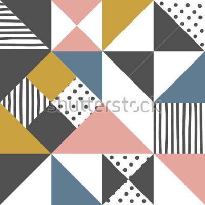 Nálepka Geometrický vzor. Abstraktní trojúhelník pozadí s ručně tažené proužek a polka dot Vektorové ilustrace.