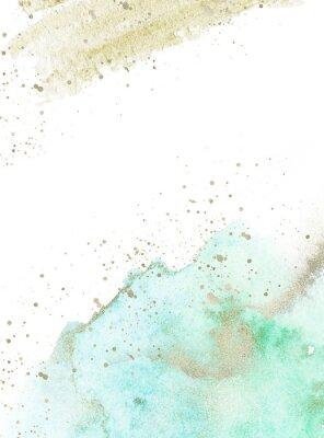 Nálepka Gold, blue and turquoise watercolor texture design. Brush stroke frame / border. Shimmering modern art. Illustration.