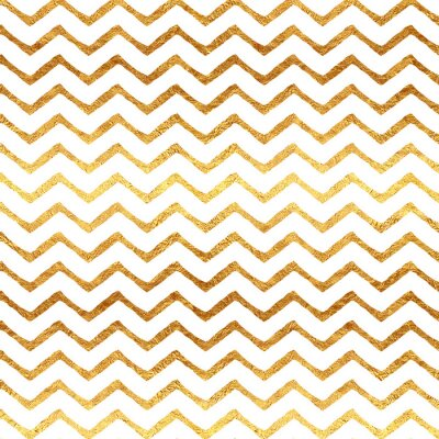 Nálepka Gold Faux fólie Chevron Metallic White Background Pattern