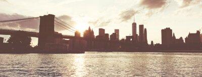 Nálepka Golden Sunset Over Manhattan Skyline, NYC, USA