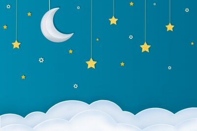 Nálepka Goodnight layout.  Paper arts of moon, stars and clouds on a blue background.