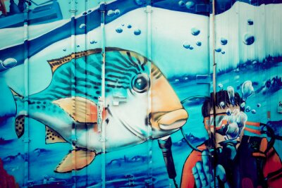 Nálepka Graffiti akvárium Plongeur