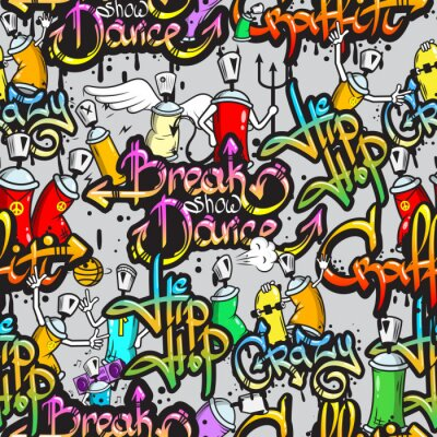 Nálepka Graffiti znaky bezešvé vzor