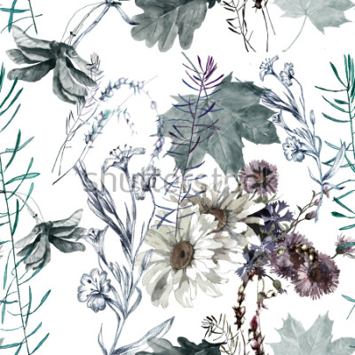 Nálepka grass flowers and leaves watercolor seamless pattern for fabrics, paper, wallpaper