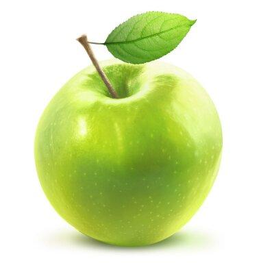 Nálepka Green Apple a leafe izolované s ořezovou cestou