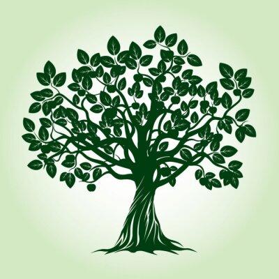 Nálepka Green Apple Tree. Vektorové ilustrace.