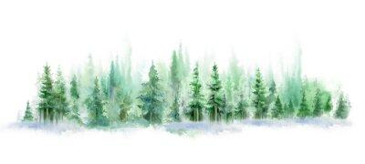 Nálepka Green landscape of foggy forest, winter hill. Wild nature, frozen, misty, taiga. watercolor background