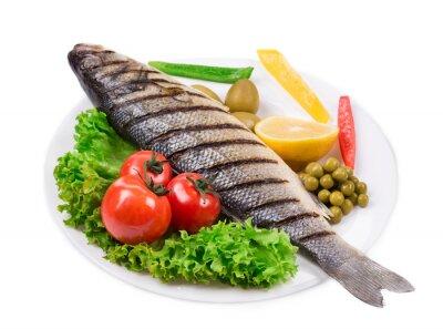Nálepka Grilovaná ryba se zeleninou.