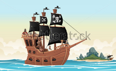 Nálepka Group of cartoon pirates on a ship at the sea