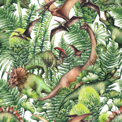 Nálepka Group of realistic watercolor dinosaurs surrounded by lush prehistoric plants. Animals of Jurassic period. Hand painted seamless pattern