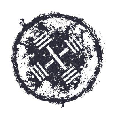 Nálepka grunge emblem with crossed barbells vector illustration, eps10