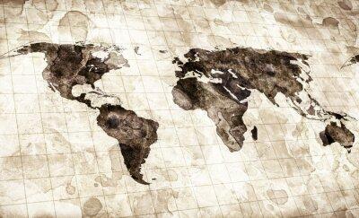 Nálepka grunge mořený mapa světa