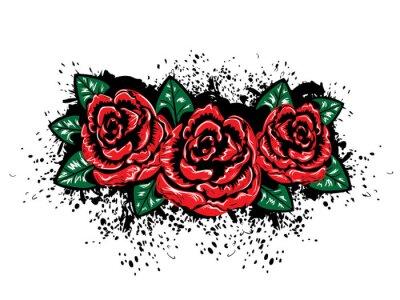 Nálepka Grunge Růže s Splatters