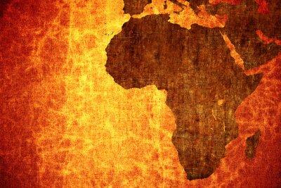 Nálepka Grunge vintage poškrábaný mapa Afrika pozadí.